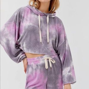 UO Out From Under Jenny Tie Dye Cropped Hoodie